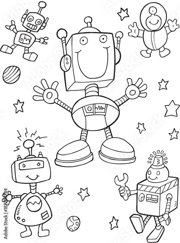 Foto op Canvas Cartoon draw Robots Vector Illustration Art Set