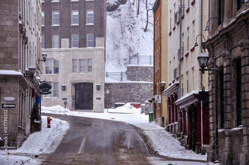 Keuken foto achterwand Smal steegje Old Quebec city in winter