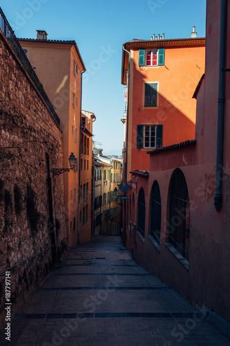 Walkway in Nice between buildings