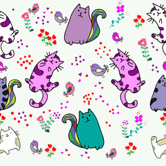 Cute Cat seamless pattern with Little Bird on colorful background Vector illustration.Doodle Cartoon style