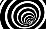 Fototapeta  - Geometric Black and White Abstract Hypnotic Worm-Hole Tunnel - Optical Illusion - Vector Illusion Optical Art  © kseniyaomega