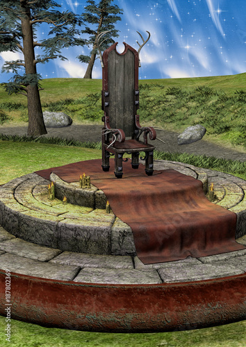 Fantasy throne in a forest - 187802369