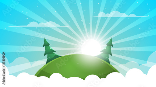 Fotobehang Turkoois Cartoon landscape - abstract illustration. Sun, ray, glare, hill, fir, cloud.
