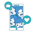 smartphone people talking hand like and love heart vector illustration blue and green design