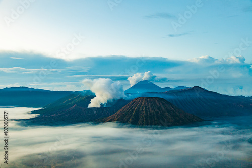 Plexiglas Pool Mount Bromo volcano (Gunung Bromo) before sunrise from viewpoint on Mount Penanjakan in Bromo Tengger Semeru National Park, East Java, Indonesia.