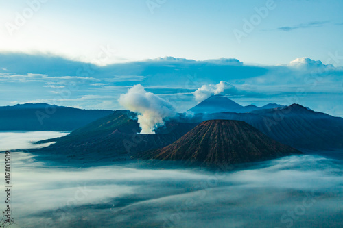 Foto op Aluminium Blauw Mount Bromo volcano (Gunung Bromo) before sunrise from viewpoint on Mount Penanjakan in Bromo Tengger Semeru National Park, East Java, Indonesia.