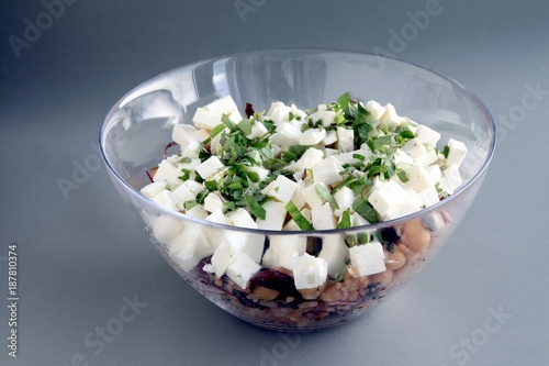 cheese,herbs and chick pea seeds as salad