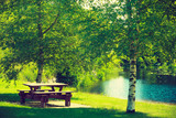 Rest place in park, picnic table in peaceful surrounding - 187813529