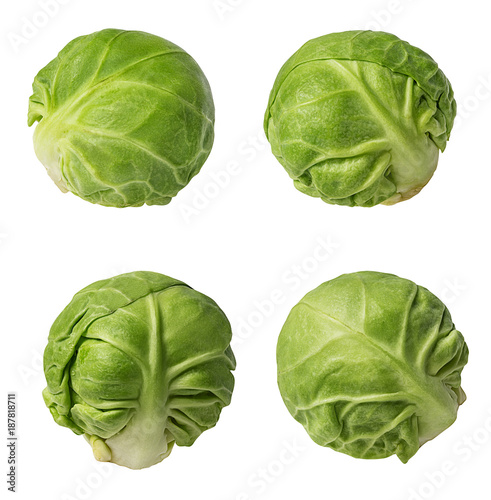 Fotobehang Brussel Brussels sprouts isolated on white background