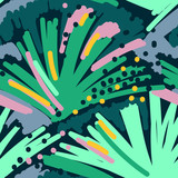 Abstract painting seamless pattern. Free hand colorful background memphis style. Hand drawn tropical background. - 187819307