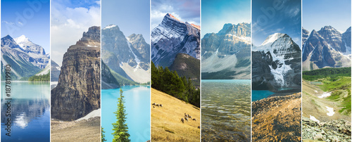 Poster Oceanië canadian rockies collage white stripes