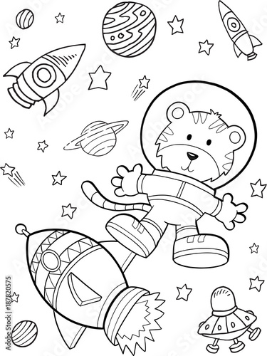 Foto op Canvas Cartoon draw Outer Space Astronaut Rocket Vector Illustration Art