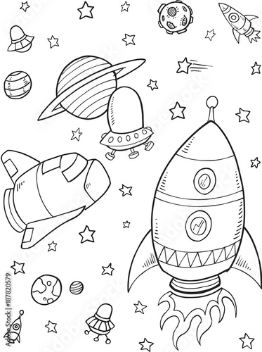 Foto op Canvas Cartoon draw Outer Space Vector Illustration Art