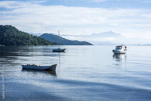 Fotobehang Rio de Janeiro Early morning in the bay of portuguese colonial town of Paraty in Rio de Janeiro state, Brazil