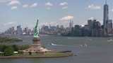 New York City, New York circa-2017, Daytime aerial shot of Statue of Liberty in New York City.  Shot with Cineflex and RED Epic-W Helium.  - 187833190
