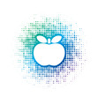 blue color apple vector icon over dot pattern