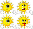 Cartoon sun holding blank white card mockup. Collection with sad faces. Expressions vector set.