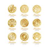 Dandelion logo set, beautiful nature badge for your own design vector Illustrations