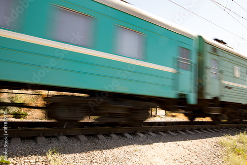 Train wagons in motion as a background