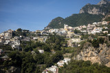 Panorama of Positano with houses climbing up the hill, Campania, Italy