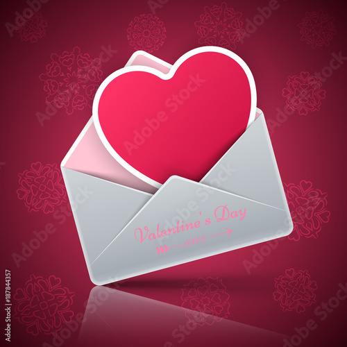 Valentine s Day. Heart in an envelope. - 187844357