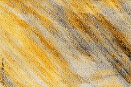 Fotobehang Abstract wave Abstract gold and grey hexagonal texture. Fractal background. Fantasy digital art. 3D rendering.