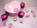 present box with rose flowers greeting card valentine's day love holiday concept - 187845328