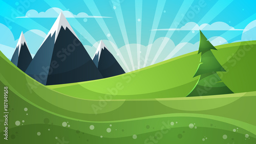 Papiers peints Turquoise Cartoon illustration. Mountain, fir, cloud, sun.