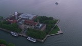New York City circa-2017, Aerial view of Ellis Island.  Shot with Cineflex and RED Epic-W Helium.  - 187851315