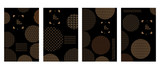 Set of covers with circles and different geometric patterns on black