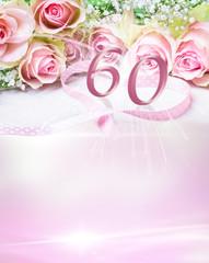 Geburtstagskarte mit Rosen und Zahl 60