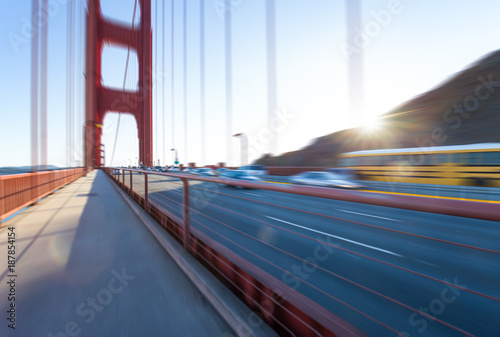 traffic on suspension bridge - 187854154