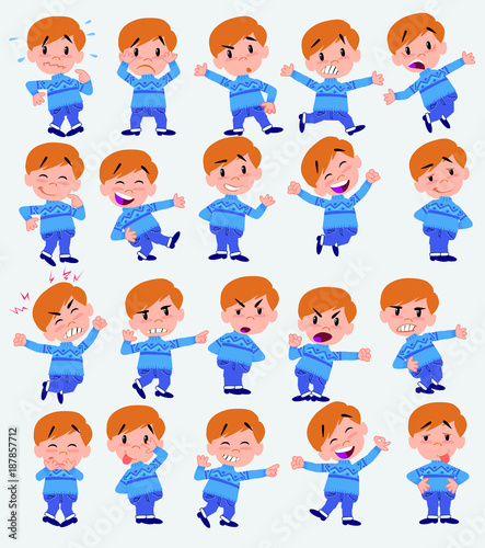 Cartoon character white boy in jeans. Set with different postures, attitudes and poses, doing different activities in isolated vector illustrations.
