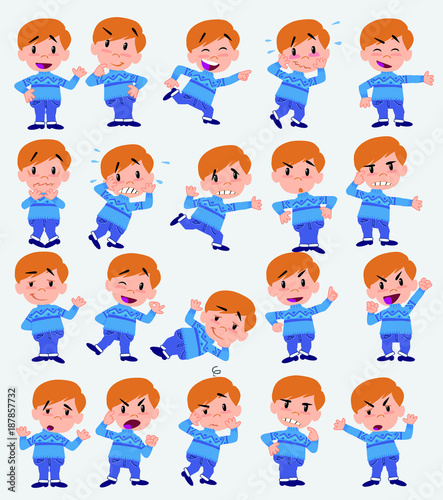 Cartoon character white boy in jeans. Set with different postures, attitudes and poses, doing different activities in isolated vector illustrations. - 187857732