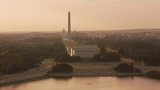 Washington, D.C. circa-2017, Aerial view of the Lincoln Memorial, Washington Monument and Capitol Building at sunrise.  Shot with Cineflex and RED Epic-W Helium.  - 187858196