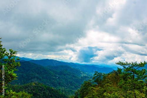 Fotobehang Bleke violet Photo landscape. forest mountain Clouds and sky . Mountain in national park Thailand.
