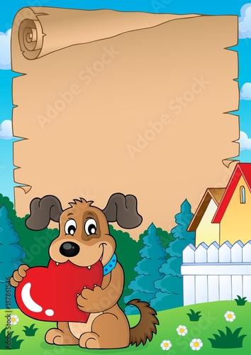 Deurstickers Voor kinderen Parchment with Valentine dog