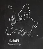 Europe, map, vector drawing on blackboard - 187862532