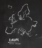 Europe, map, vector drawing on blackboard