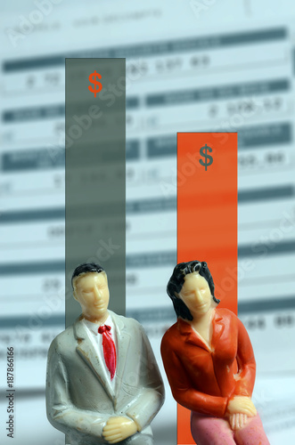 Euro Payroll and woman and man figurine - 187866166