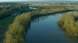 Aerial view of Willamette River and farm land near Dayton, Oregon - 187867336