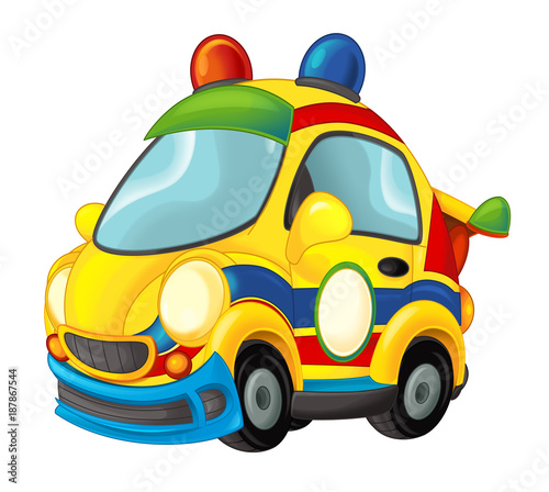 Cartoon funny looking sports car - illustration for children - 187867544