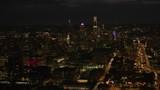 Philadelphia, Pennsylvania circa-2017, Night aerial view of downtown Philadelphia buildings.  Shot with Cineflex and RED Epic-W Helium.  - 187868754