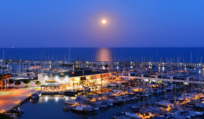 Yachts at night in Spain