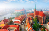 Wroclaw city in Poland top view to sanctuary church with high
