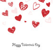 Happy Valentine's day greeting card. Hand drawn red hearts