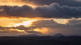 Dramatic Sunset Clouds over Snow Dusted Hills in UK - 187872592