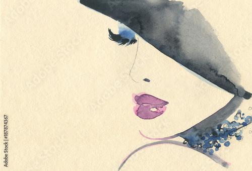 Fotobehang Anna I. Abstract woman face. Fashion illustration.