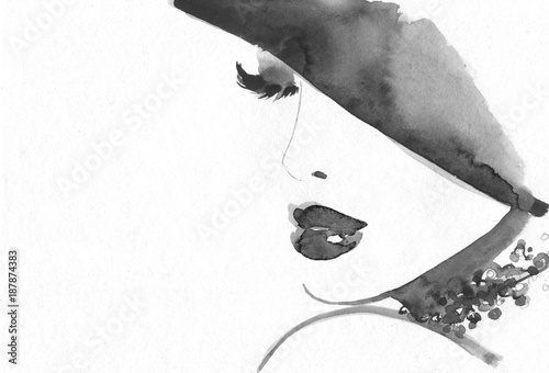 Sticker Abstract woman face. Fashion illustration.