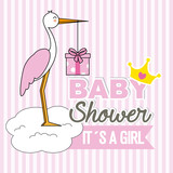 girl baby shower. Stork with gift pack